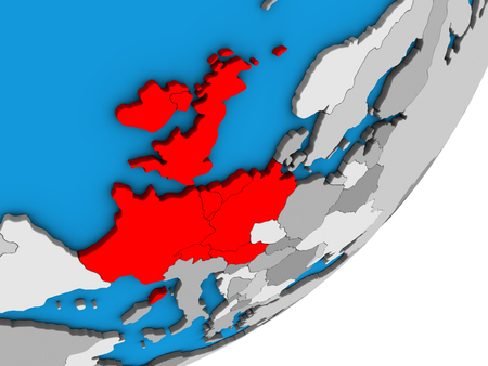 Western Europe on blue political 3D globe. 3D illustration.