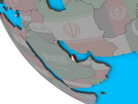 Qatar with embedded national flag on simple 3D globe. 3D illustration.