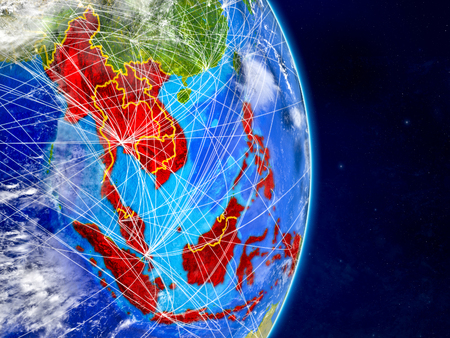 South East Asia on planet Earth with networks. Extremely detailed planet surface and clouds. 3D illustration.