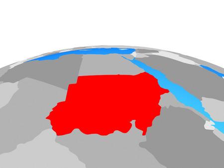 Sudan on political globe. 3D illustration. Stockfoto