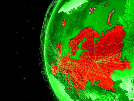 Europe on green Earth with network representing telecommunications, internet or intercontinental air traffic. 3D illustration. Stock Photo