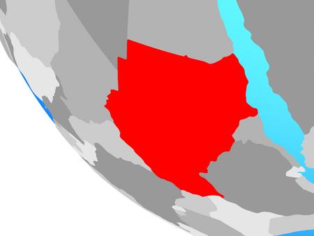 Sudan on simple globe. 3D illustration.