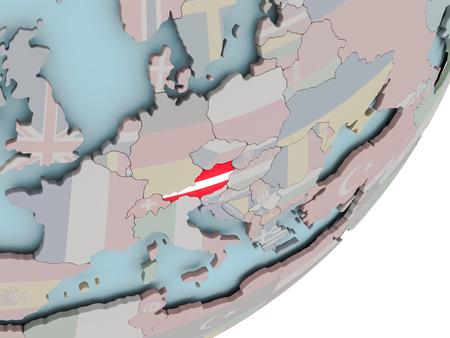 3D render of Austria on political globe with embedded flag. 3D illustration. Standard-Bild - 112460932