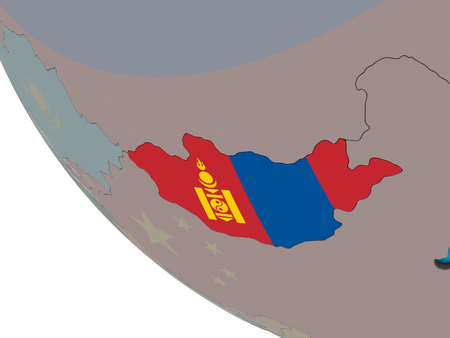 Mongolia with embedded national flag on simple 3D globe. 3D illustration.