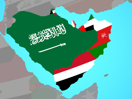 Arabia with national flags on blue political globe. 3D illustration.