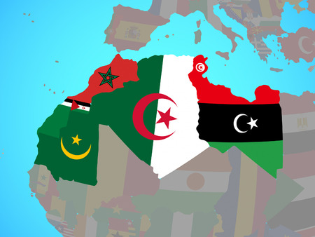 Maghreb region with national flags on blue political globe. 3D illustration.
