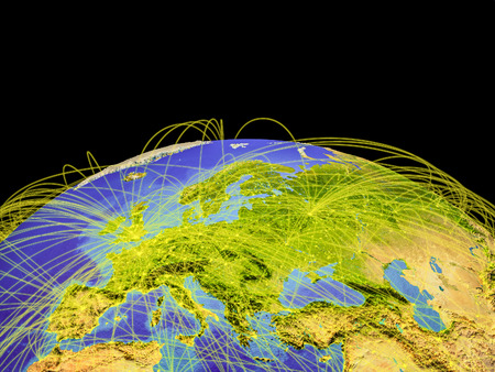 Europe on planet Earth with trajectories representing international communication, travel, connections. 3D illustration.