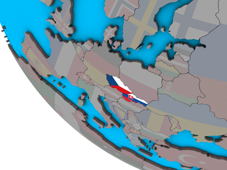 Former Czechoslovakia with embedded national flags on simple 3D globe. 3D illustration.