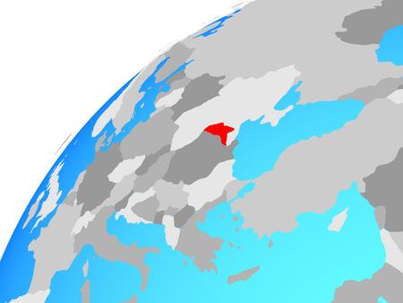 Moldova on globe. 3D illustration.