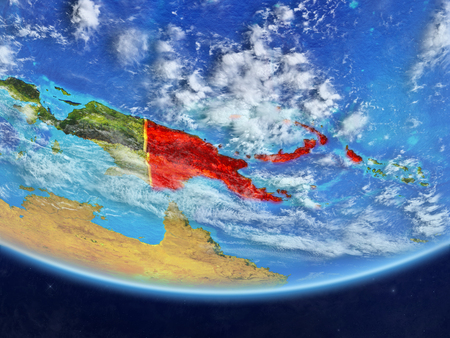 Papua New Guinea on realistic model of planet Earth with country borders and very detailed planet surface and clouds. 3D illustration.