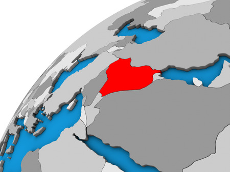 Iraq on 3D globe. 3D illustration.