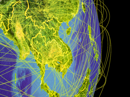 Indochina on Earth with trajectories representing international communication, travel, connections. 3D illustration.