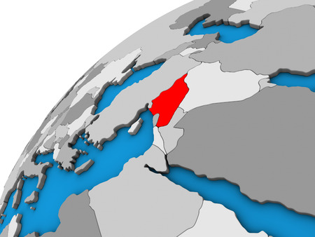 Syria on 3D globe. 3D illustration. Stock Photo