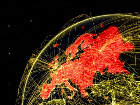 Europe on dark Earth with network representing intercontinental connections. 3D illustration. Stock Photo