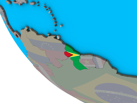 Guyana with embedded national flag on simple 3D globe. 3D illustration.