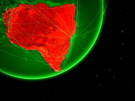 South America on green Earth with network. Concept of connectivity. May represent air traffic, internet or telecommunications. 3D illustration.