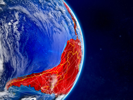 Latin America on planet Earth with networks. Extremely detailed planet surface and clouds. 3D illustration.