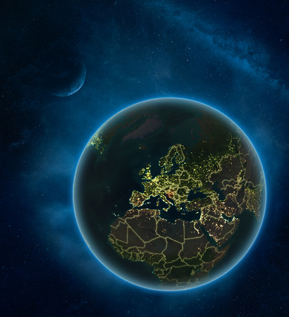 Croatia at night from space with Moon and Milky Way. Detailed planet Earth with city lights and visible country borders. 3D illustration. Фото со стока