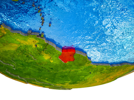 Suriname on 3D Earth with divided countries and watery oceans. 3D illustration. Stock Photo