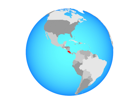 Costa Rica on blue political globe. 3D illustration isolated on white background. 写真素材