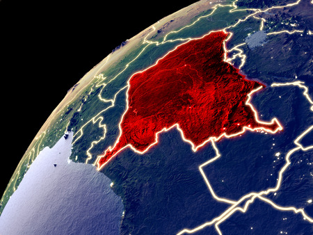 Satellite view of Dem Rep of Congo on Earth with city lights. Extremely detailed plastic planet surface with real mountains. 3D illustration.