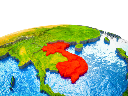 Indochina on 3D Earth with visible countries and blue oceans with waves. 3D illustration.