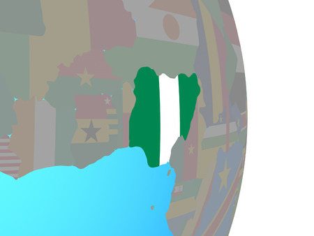Nigeria with national flag on simple political globe. 3D illustration. Stock Photo