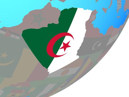 Algeria with embedded national flag on blue political globe. 3D illustration. Stock Photo