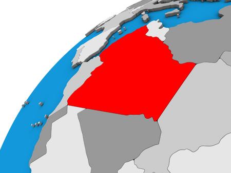Algeria on 3D globe. 3D illustration.