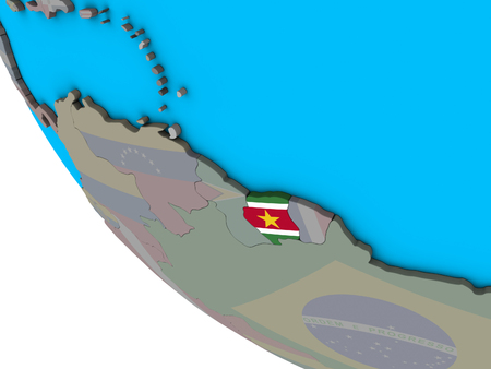 Suriname with embedded national flag on simple 3D globe. 3D illustration. Stock Photo