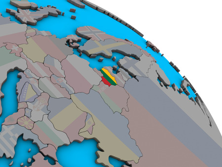 Lithuania with embedded national flag on simple blue political 3D globe. 3D illustration. Stock Photo