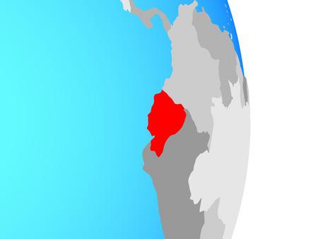 Ecuador on simple political globe. 3D illustration.