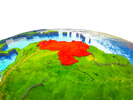 Venezuela on 3D Earth with visible countries and blue oceans with waves. 3D illustration.