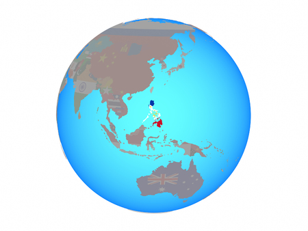 Philippines with national flag on blue political globe. 3D illustration isolated on white background.