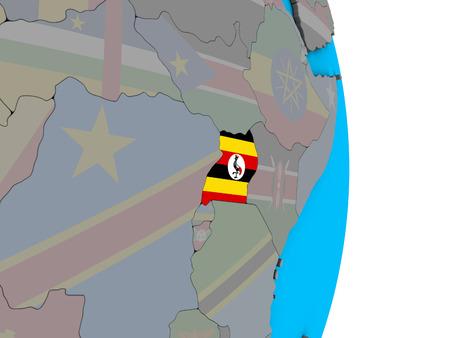 Uganda with embedded national flag on simple political 3D globe. 3D illustration. Stockfoto