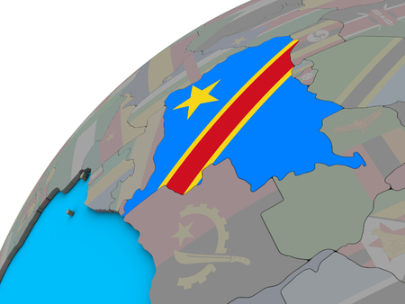 Dem Rep of Congo with national flag on 3D globe. 3D illustration.