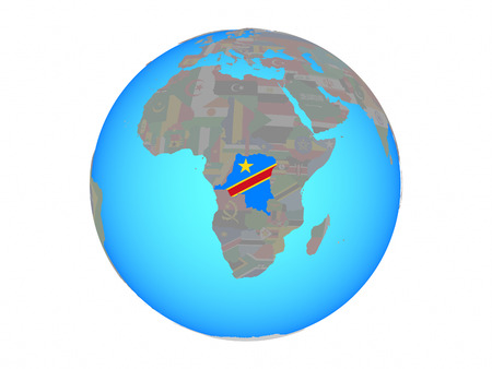 Dem Rep of Congo with national flag on blue political globe. 3D illustration isolated on white background. Banco de Imagens