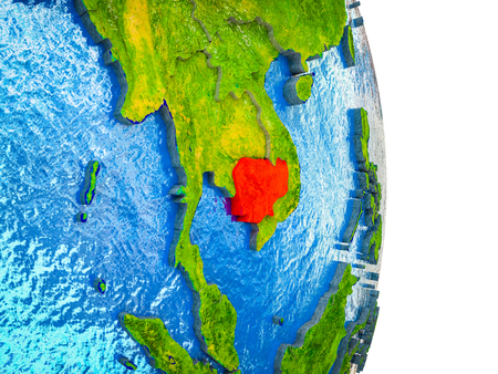 Cambodia on 3D model of Earth with divided countries and blue oceans. 3D illustration. Stok Fotoğraf - 112255992