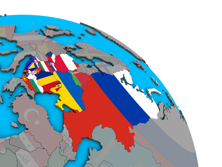 Eastern Europe with embedded national flags on simple blue political 3D globe. 3D illustration.