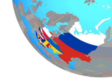 Eastern Europe with national flags on simple globe. 3D illustration.