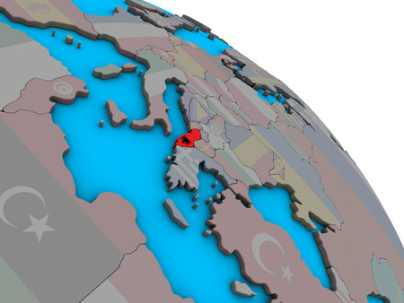 Albania with embedded national flag on simple blue political 3D globe. 3D illustration.