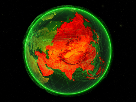 Asia on green Earth with networks. May be representing air traffic, telecommunications or other communication network. 3D illustration.