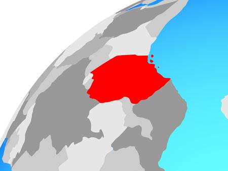 Tanzania on globe. 3D illustration. Stok Fotoğraf