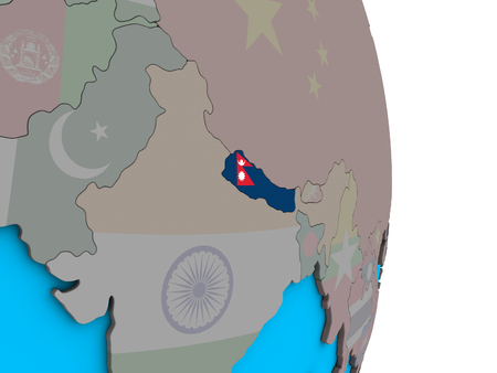 Nepal with embedded national flag on simple political 3D globe. 3D illustration. Фото со стока