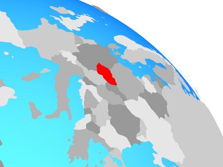 Czech republic on simple blue political globe. 3D illustration. Stok Fotoğraf
