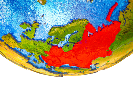 Eastern Europe on 3D Earth with divided countries and watery oceans. 3D illustration.