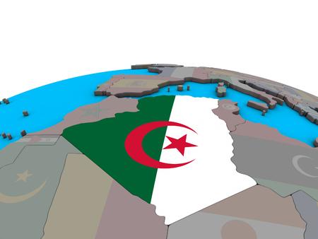 Algeria with embedded national flag on political 3D globe. 3D illustration.