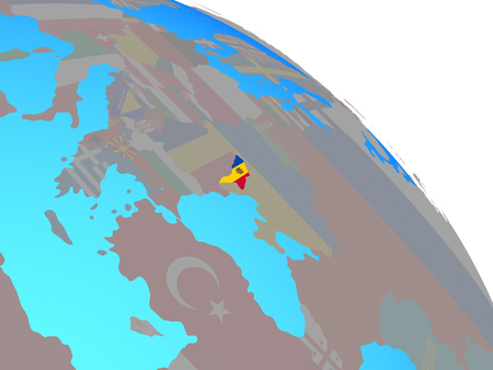 Moldova with national flag on simple blue political globe. 3D illustration. Stock Illustration - 112256519
