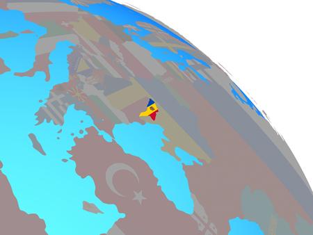 Moldova with national flag on simple blue political globe. 3D illustration.
