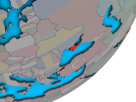 Crimea with national flag on blue political 3D globe. 3D illustration.